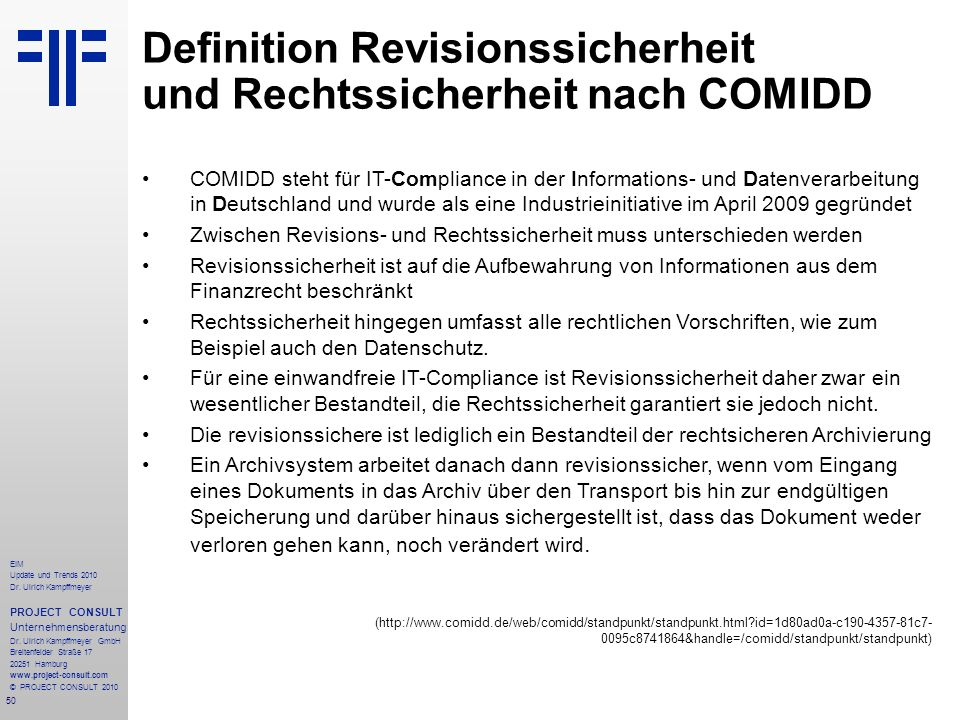 Definition Revisionssicherheit und Rechtssicherheit nach COMIDD