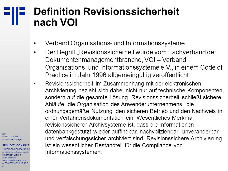 Definition Revisionssicherheit nach VOI