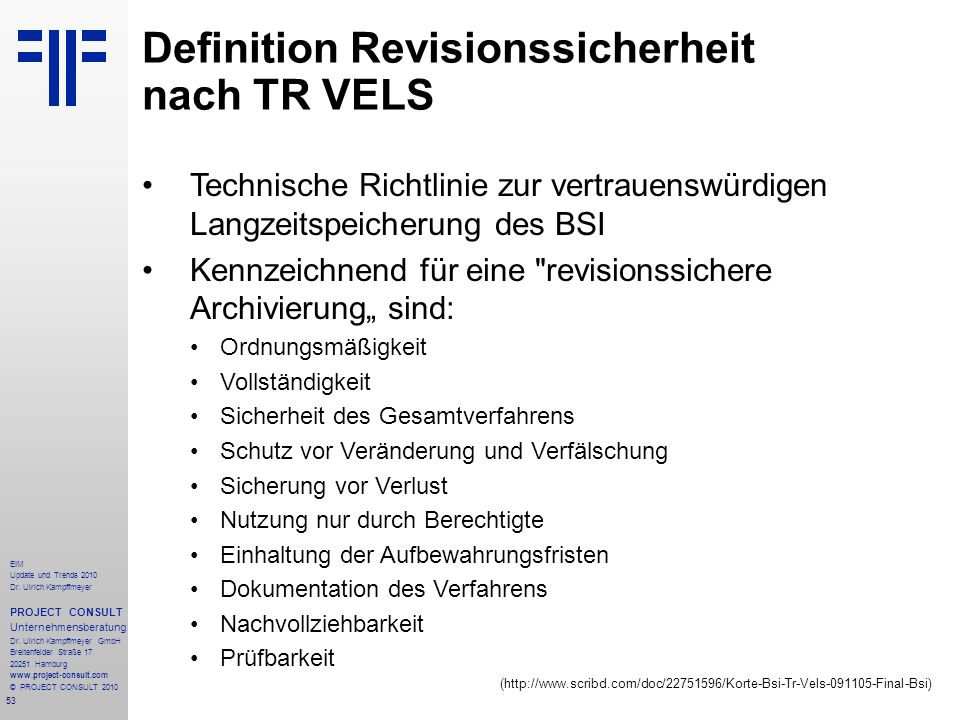 Definition Revisionssicherheit nach TR VELS