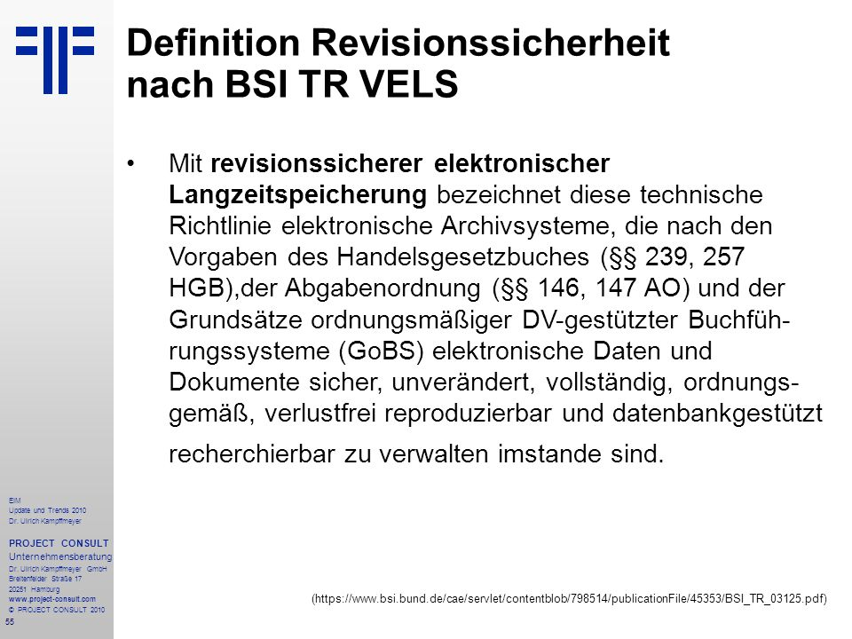 Definition Revisionssicherheit nach BSI TR VELS