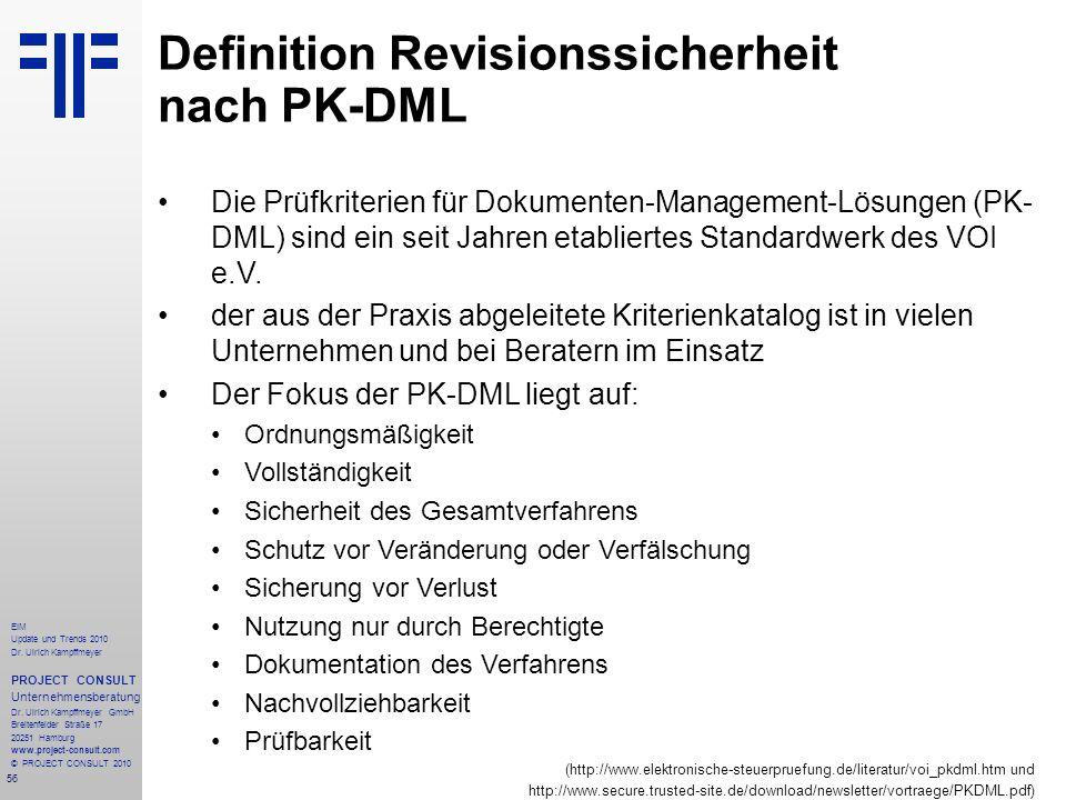Definition Revisionssicherheit nach PK-DML