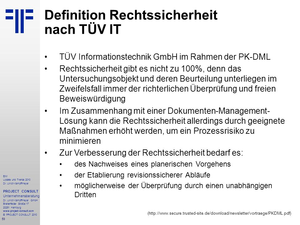 Definition Rechtssicherheit nach TÜV IT