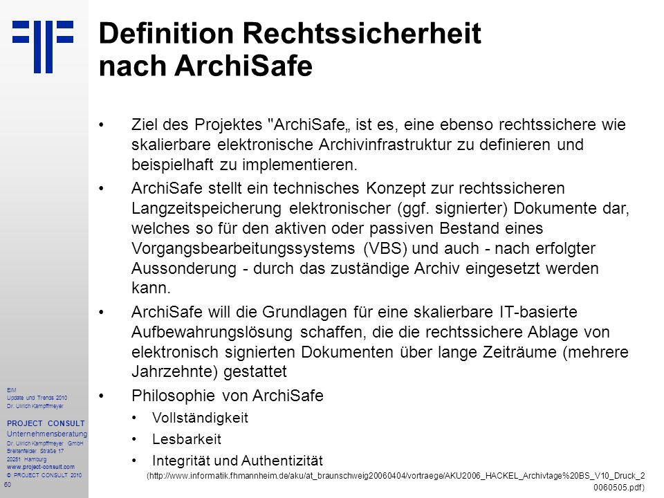 Definition Rechtssicherheit nach ArchiSafe