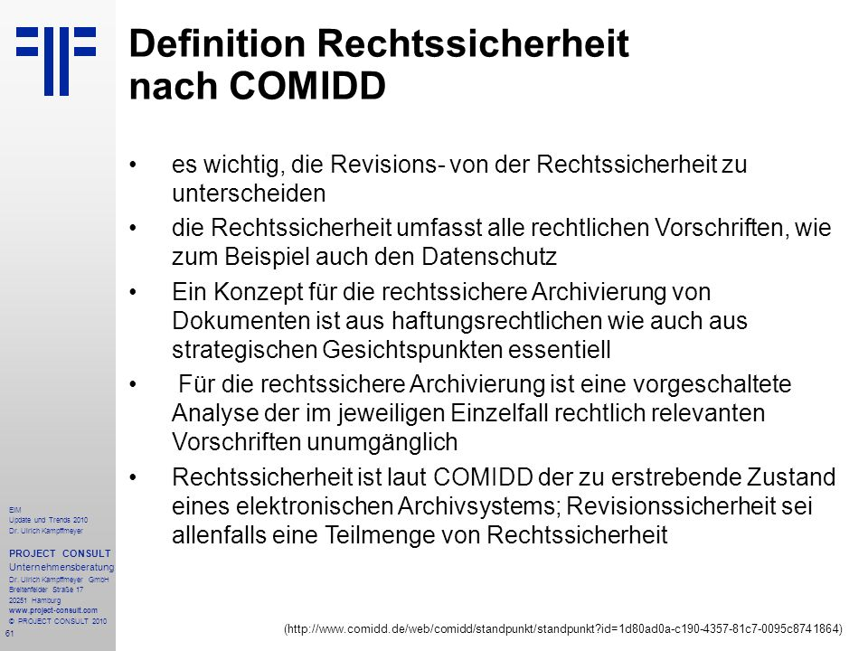 Definition Rechtssicherheit nach COMIDD