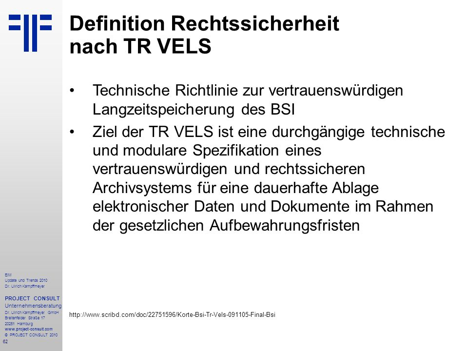 Definition Rechtssicherheit nach TR VELS