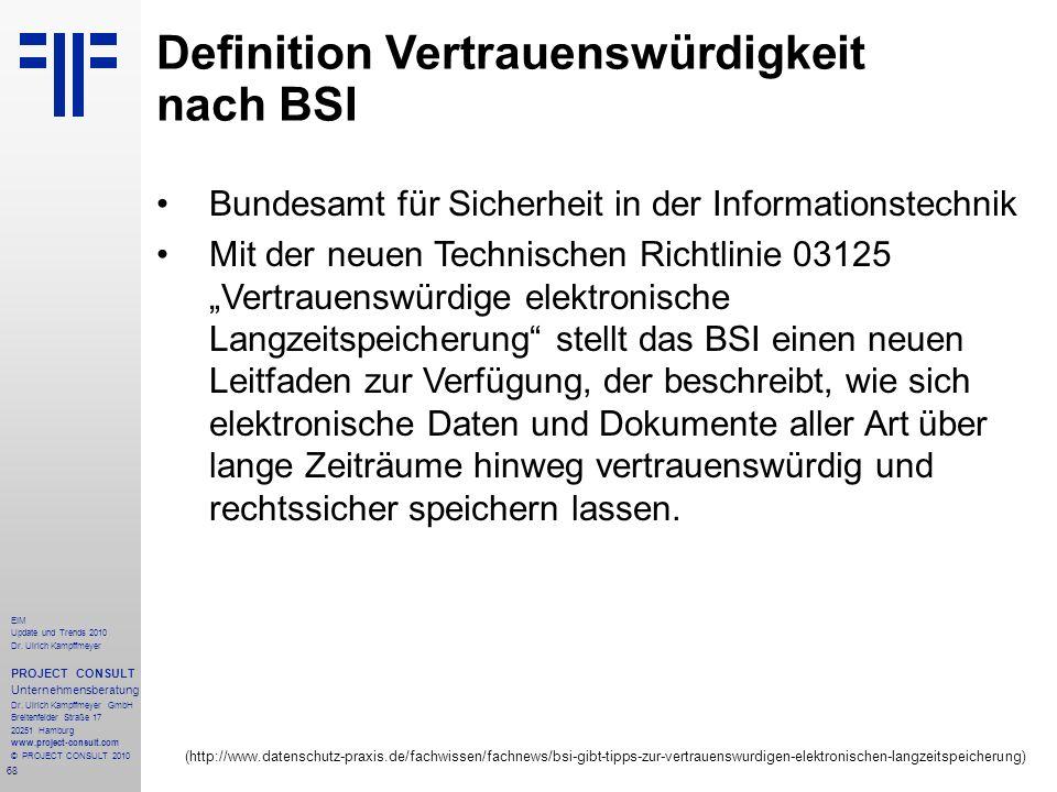 Definition Vertrauenswürdigkeit nach BSI