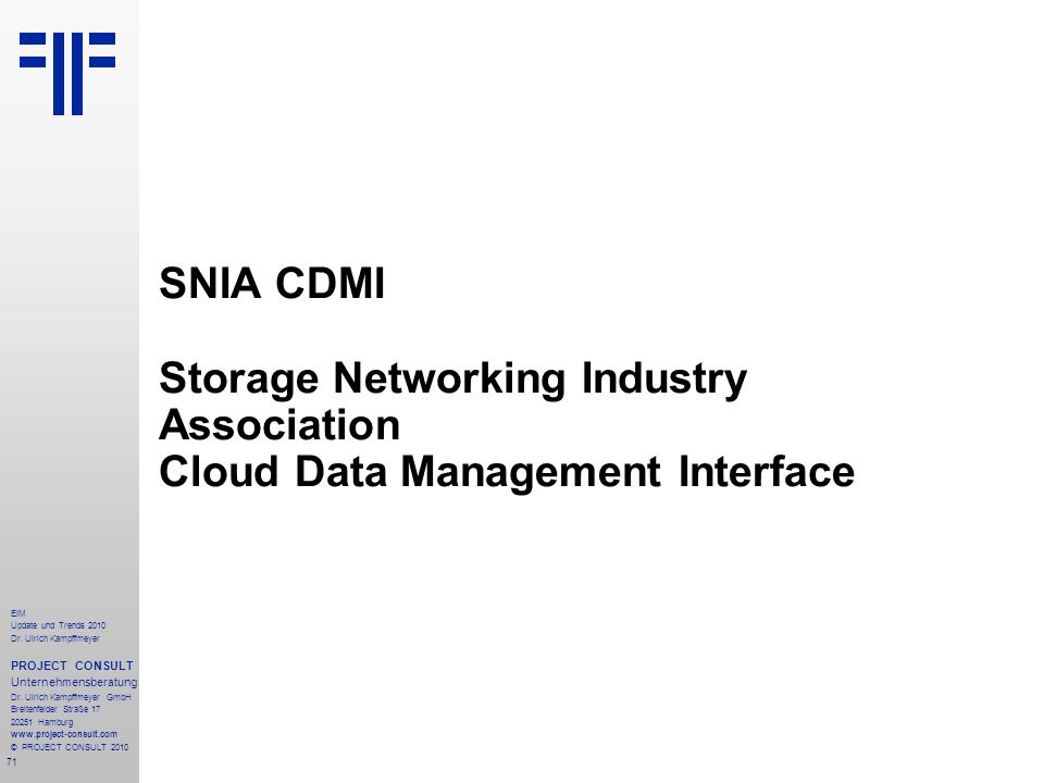 SNIA CDMI Storage Networking Industry Association Cloud Data Management Interface