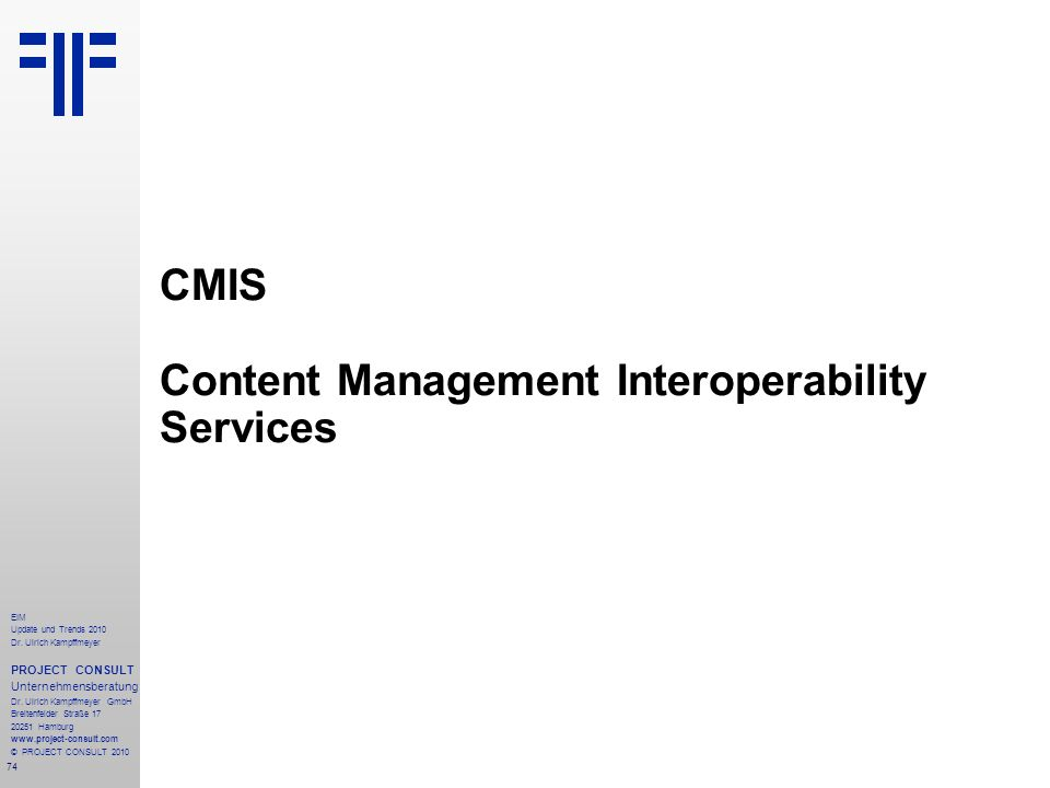 CMIS Content Management Interoperability Services