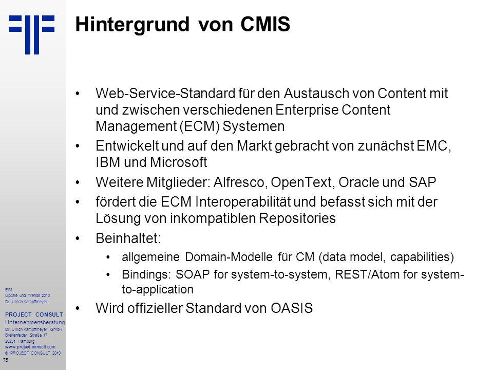 Hintergrund von CMIS Web-Service-Standard für den Austausch von Content mit und zwischen verschiedenen Enterprise Content Management (ECM) Systemen.