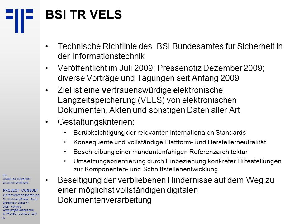 BSI TR VELS Technische Richtlinie des BSI Bundesamtes für Sicherheit in der Informationstechnik.