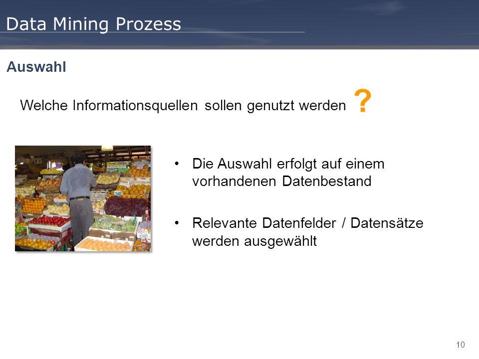 Data Mining Prozess Auswahl