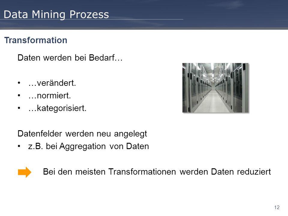 Data Mining Prozess Transformation Daten werden bei Bedarf…