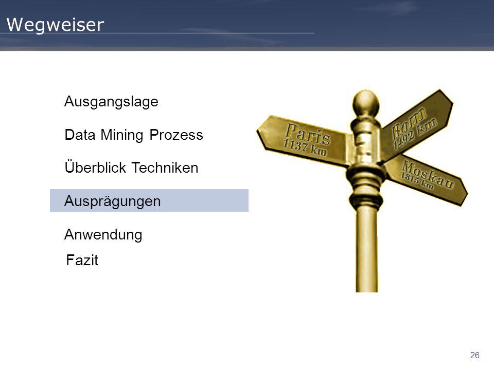 Wegweiser Ausgangslage Data Mining Prozess Überblick Techniken