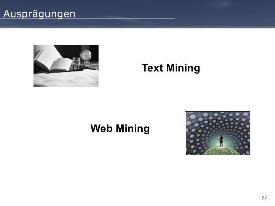 Ausprägungen Text Mining Web Mining 27