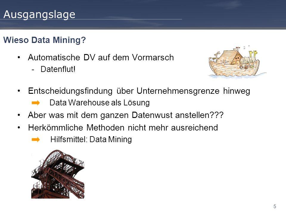 Ausgangslage Wieso Data Mining Automatische DV auf dem Vormarsch