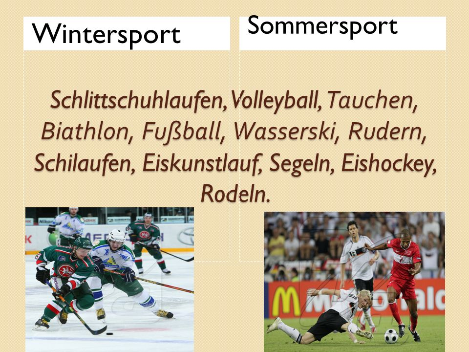Wintersport Sommersport
