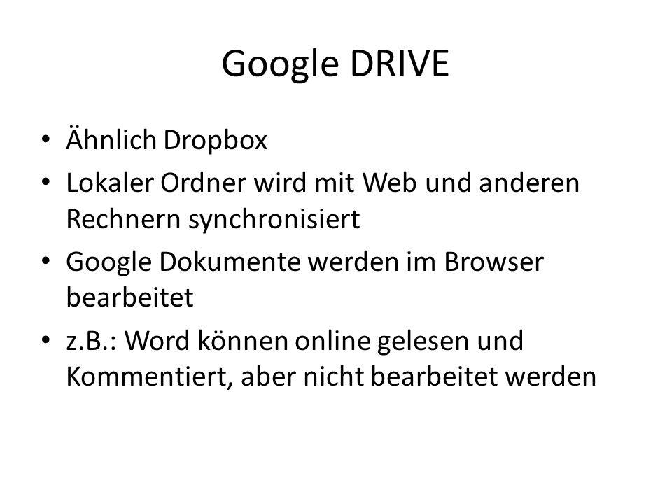 Google DRIVE Ähnlich Dropbox