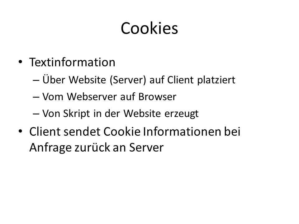 Cookies Textinformation