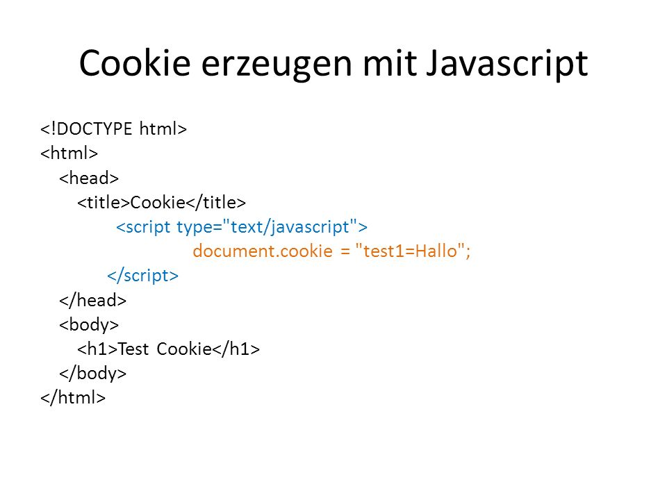 Cookie erzeugen mit Javascript