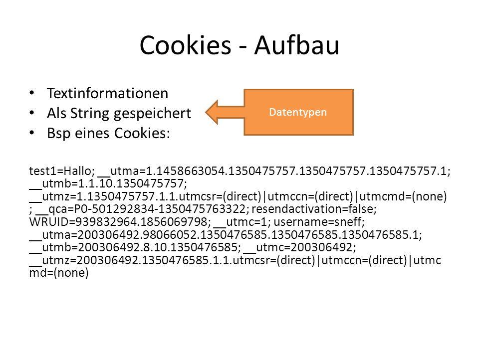 Cookies - Aufbau Textinformationen Als String gespeichert