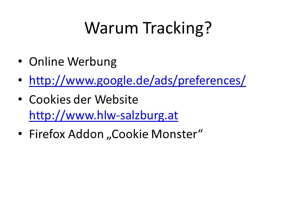 Warum Tracking Online Werbung http://www.google.de/ads/preferences/
