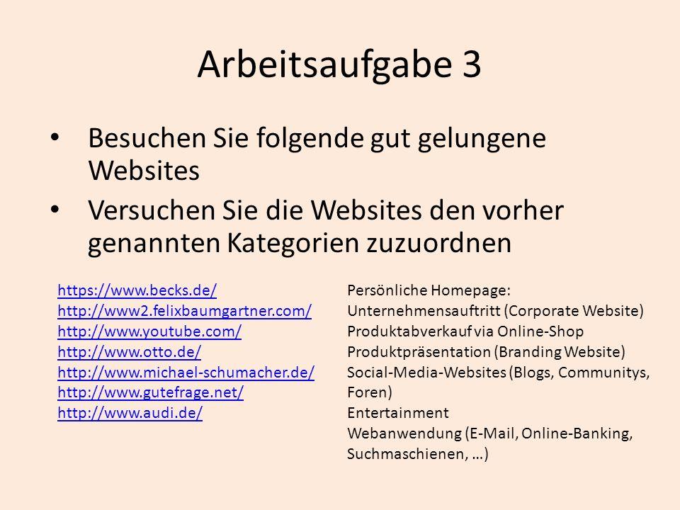 Arbeitsaufgabe 3 Besuchen Sie folgende gut gelungene Websites