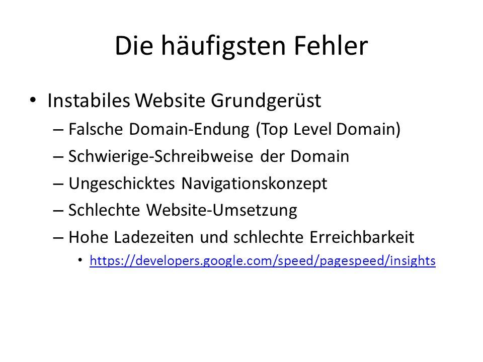 Die häufigsten Fehler Instabiles Website Grundgerüst