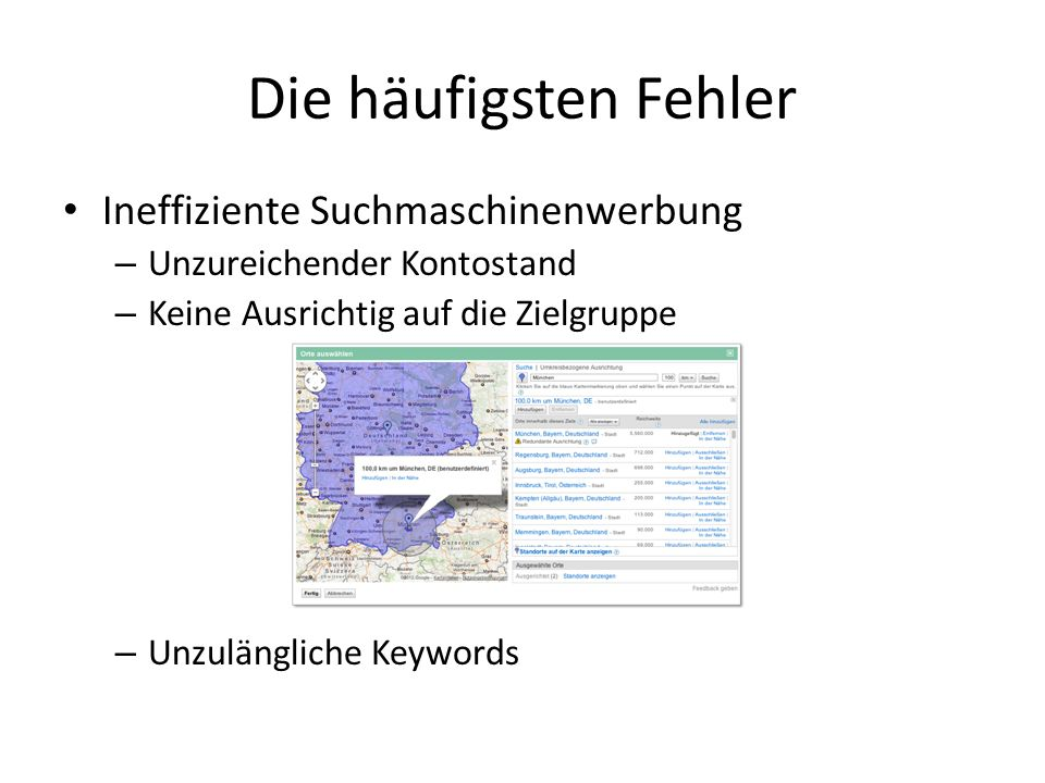 Die häufigsten Fehler Ineffiziente Suchmaschinenwerbung
