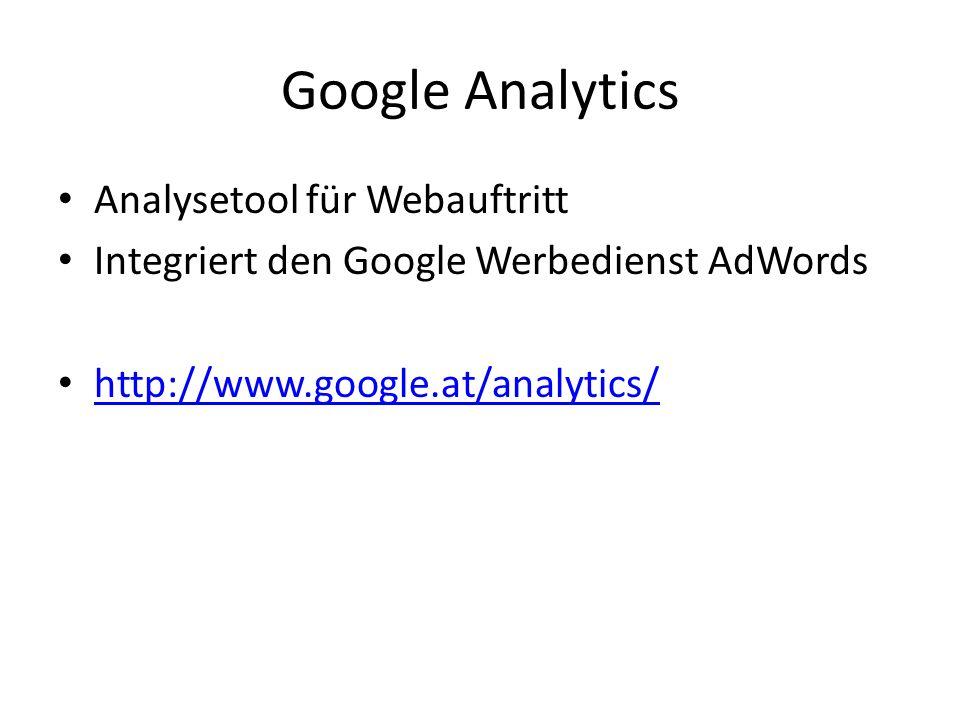 Google Analytics Analysetool für Webauftritt