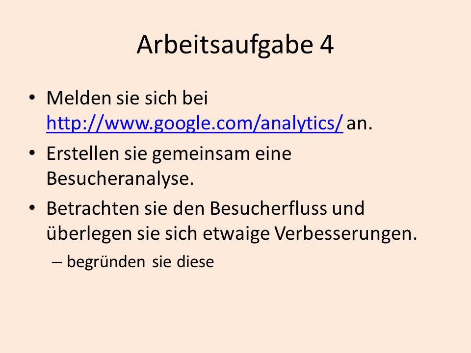 Arbeitsaufgabe 4 Melden sie sich bei http://www.google.com/analytics/ an. Erstellen sie gemeinsam eine Besucheranalyse.