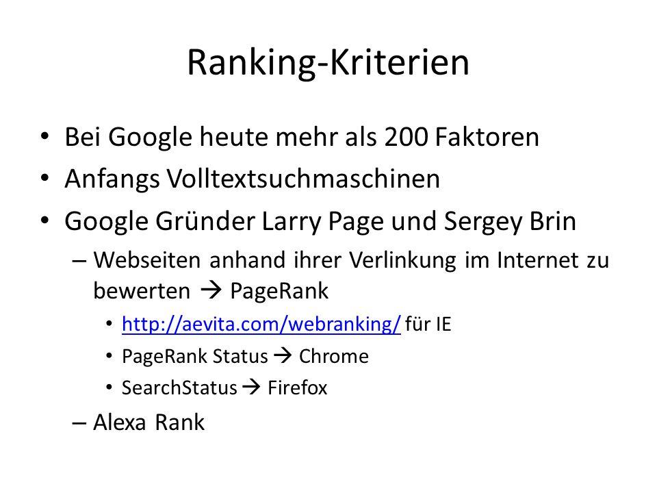 Ranking-Kriterien Bei Google heute mehr als 200 Faktoren