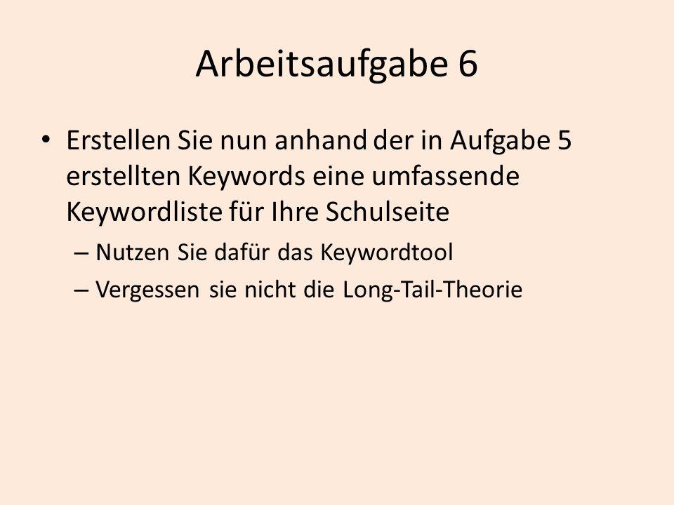 Arbeitsaufgabe 6 Erstellen Sie nun anhand der in Aufgabe 5 erstellten Keywords eine umfassende Keywordliste für Ihre Schulseite.
