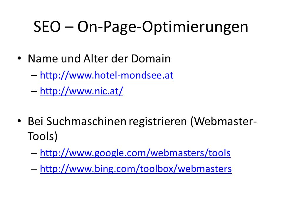 SEO – On-Page-Optimierungen