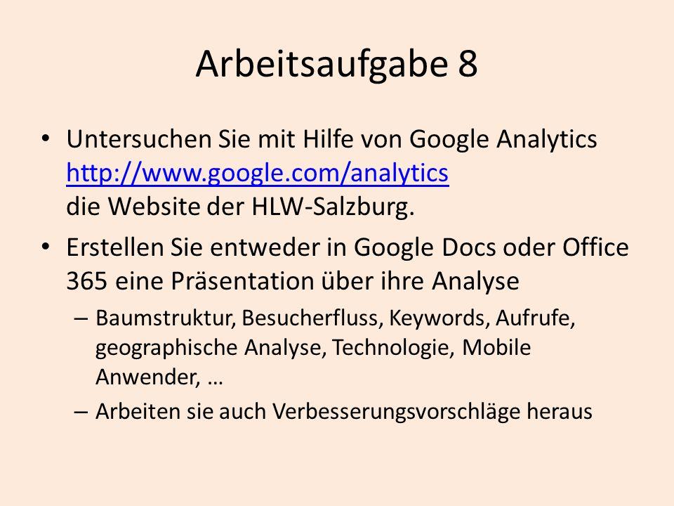 Arbeitsaufgabe 8 Untersuchen Sie mit Hilfe von Google Analytics http://www.google.com/analytics die Website der HLW-Salzburg.