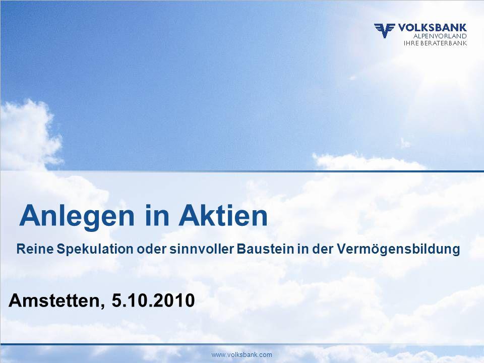 Anlegen in Aktien Amstetten, 5.10.2010