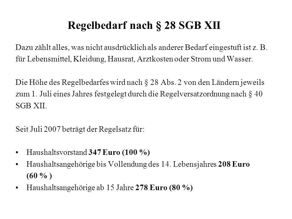 Regelbedarf nach § 28 SGB XII