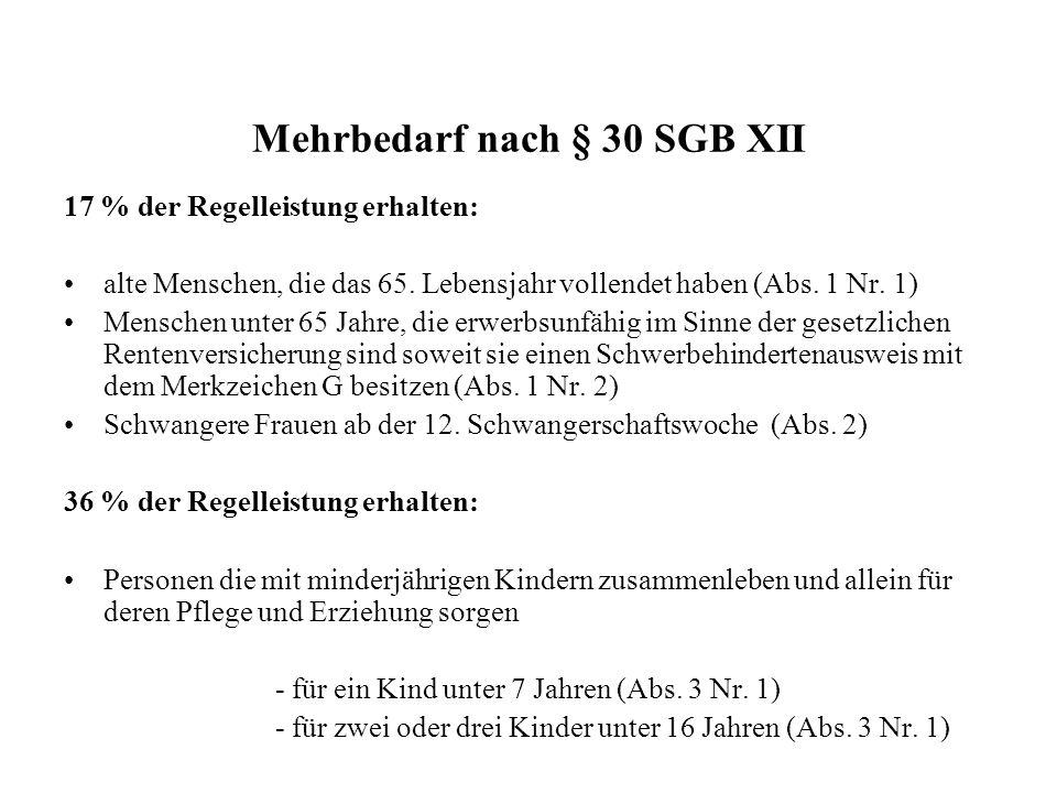 Mehrbedarf nach § 30 SGB XII