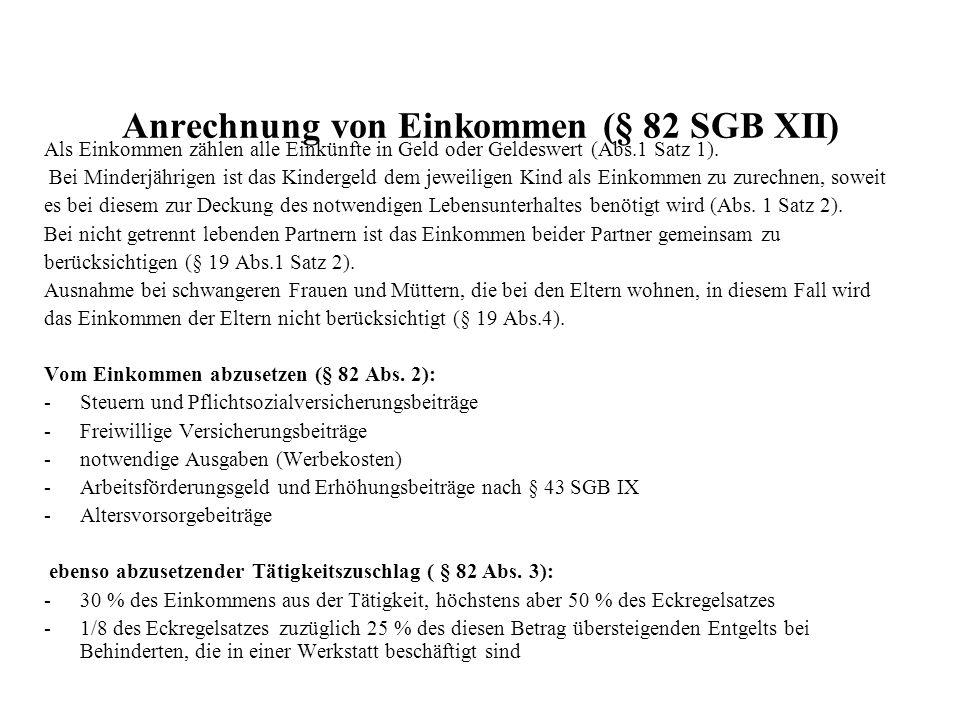 Anrechnung von Einkommen (§ 82 SGB XII)