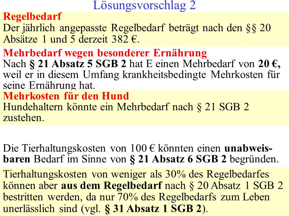 Lösungsvorschlag 2 Regelbedarf Der jährlich angepasste Regelbedarf beträgt nach den §§ 20 Absätze 1 und 5 derzeit 382 €.