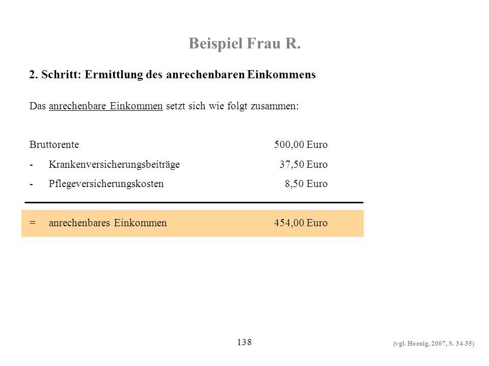 Beispiel Frau R. 2. Schritt: Ermittlung des anrechenbaren Einkommens