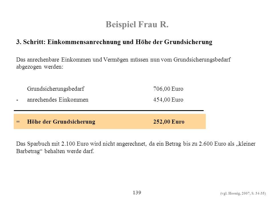 Beispiel Frau R. 3. Schritt: Einkommensanrechnung und Höhe der Grundsicherung.