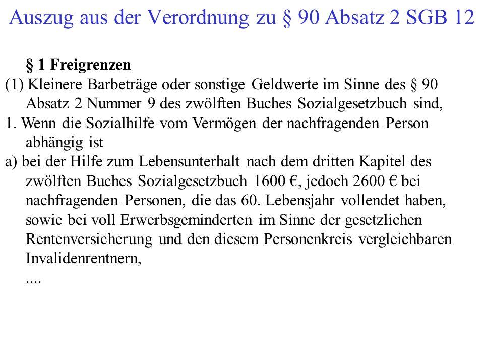 Auszug aus der Verordnung zu § 90 Absatz 2 SGB 12