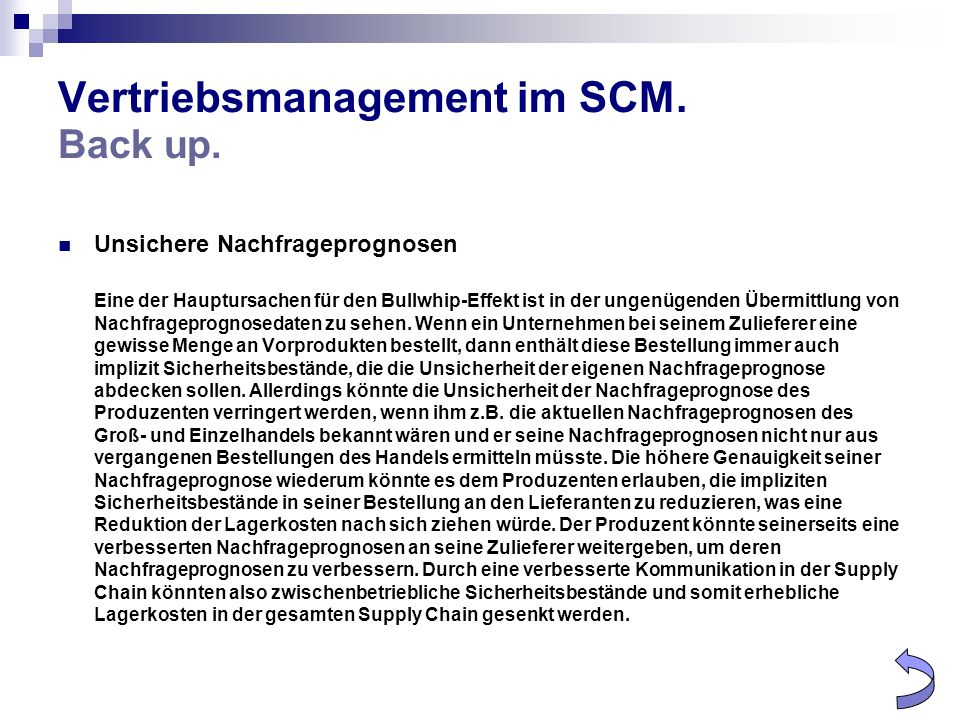 Vertriebsmanagement im SCM. Back up.