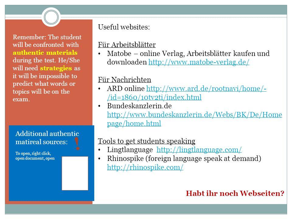 ! Useful websites: Für Arbeitsblätter