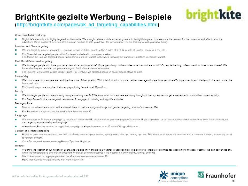 BrightKite gezielte Werbung – Beispiele (http://brightkite