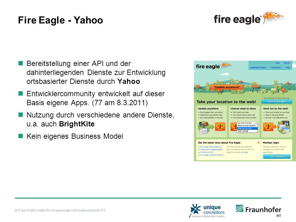 Fire Eagle - Yahoo Bereitstellung einer API und der dahinterliegenden Dienste zur Entwicklung ortsbasierter Dienste durch Yahoo.