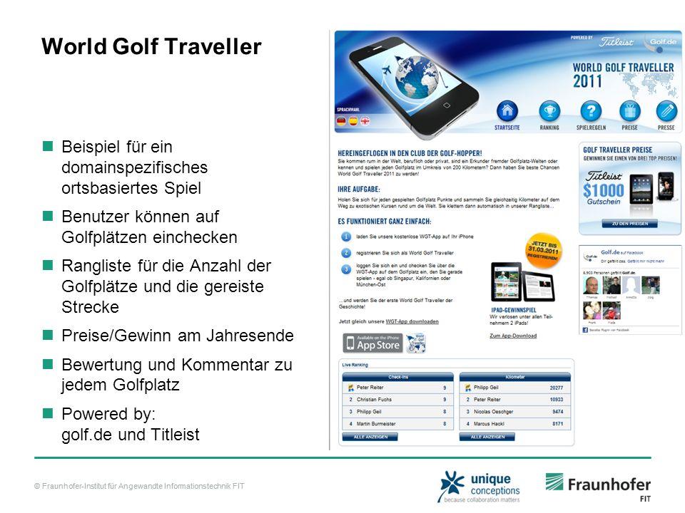 World Golf Traveller Beispiel für ein domainspezifisches ortsbasiertes Spiel. Benutzer können auf Golfplätzen einchecken.