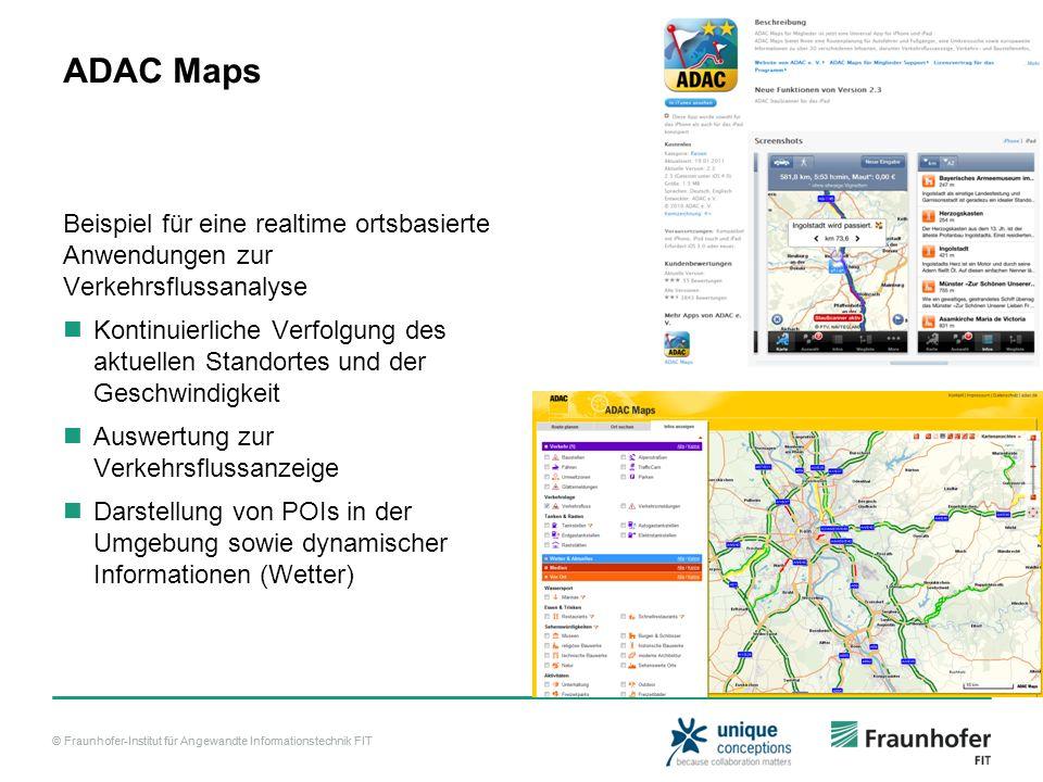 ADAC Maps Beispiel für eine realtime ortsbasierte Anwendungen zur Verkehrsflussanalyse.