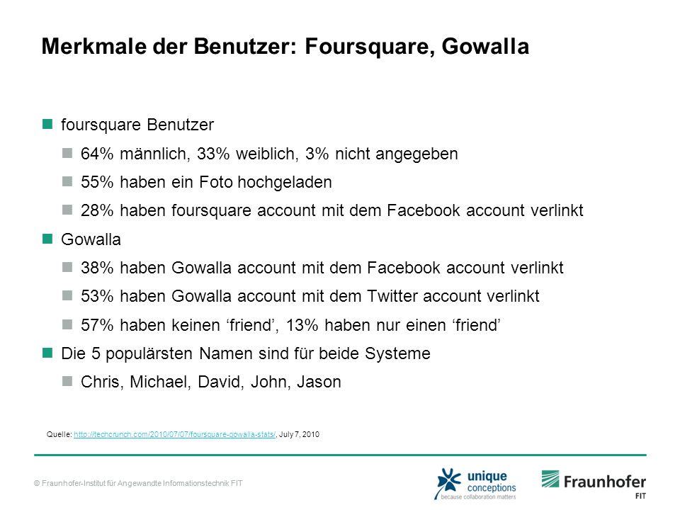 Merkmale der Benutzer: Foursquare, Gowalla