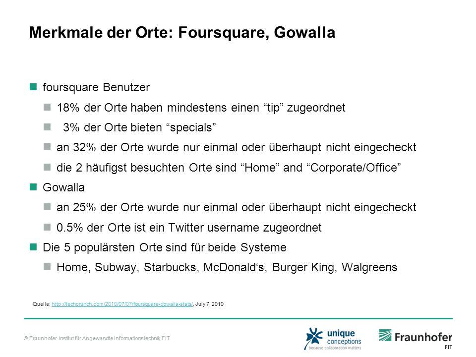 Merkmale der Orte: Foursquare, Gowalla